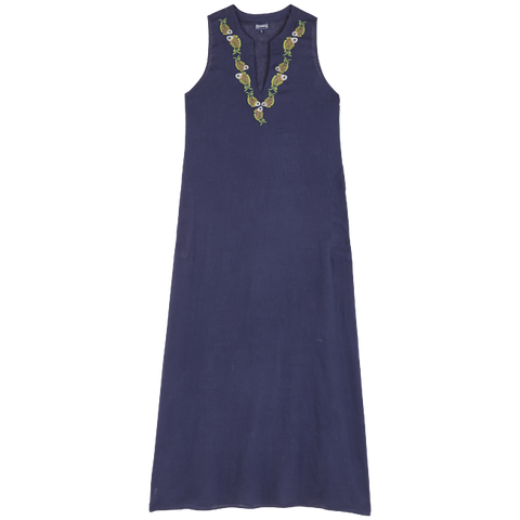 Vilebrequin  - Women's Cotton Linen Sweet Fishes Feather Navy Blue Long Cover-up