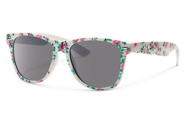 Forecast - Crunch White Print Sunglasses, Gray Lenses