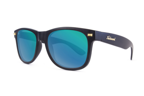 Knockaround - Fort Knocks Matte Black Sunglasses, Green Moonshine Lenses