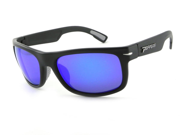 Peppers - Palisades Matte Black Sunglasses / Blue Mirror Polarized Lenses