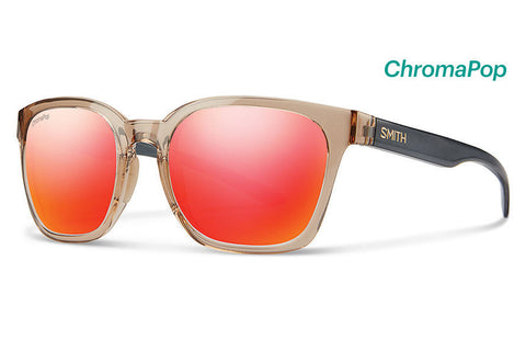 Smith - Founder Desert Crystal Smoke Sunglasses, ChromaPop Sun Red Mirror Lenses
