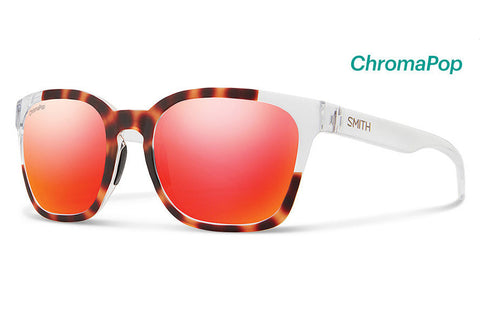Smith - Founder Matte Tortoise Crystal Block Sunglasses, ChromaPop Sun Red Mirror Lenses