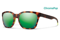 Smith - Founder Matte Tortoise Neon Sunglasses, ChromaPop Sun Green Mirror Lenses