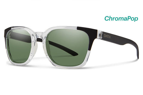 Smith - Founder Crystal Black Block Sunglasses, ChromaPop Polarized Gray Green Lenses