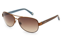 Fossil - Jacey Aviator Matte Brown Sunglasses