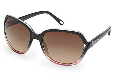 Fossil - Jesse Rectangular Shiny Dark Gray to Pink Fade Sunglasses