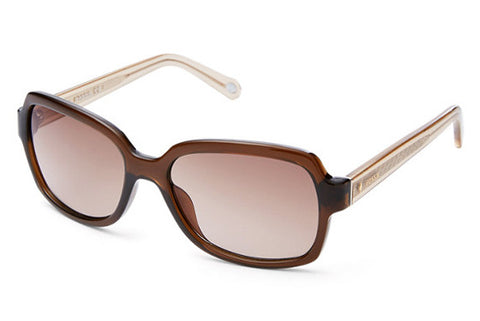 Fossil - Dunedrift Rectangular Transparent Brown Sunglasses