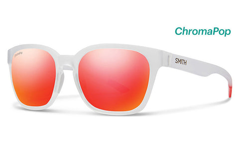 Smith - Founder Slim Matte Crystal Red Sunglasses, ChromaPop Sun Red Mirror Lenses