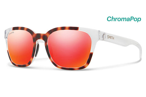 Smith - Founder Slim Matte Tortoise Crystal Block Sunglasses, ChromaPop Sun Red Mirror Lenses