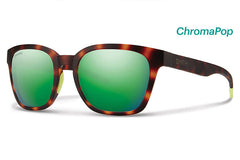 Smith - Founder Slim Matte Tortoise Neon Sunglasses, ChromaPop Sun Green Mirror Lenses
