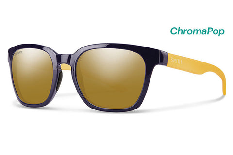 Smith - Founder Slim Midnight Matte Honey Sunglasses, ChromaPop Polarized Bronze Mirror Lenses
