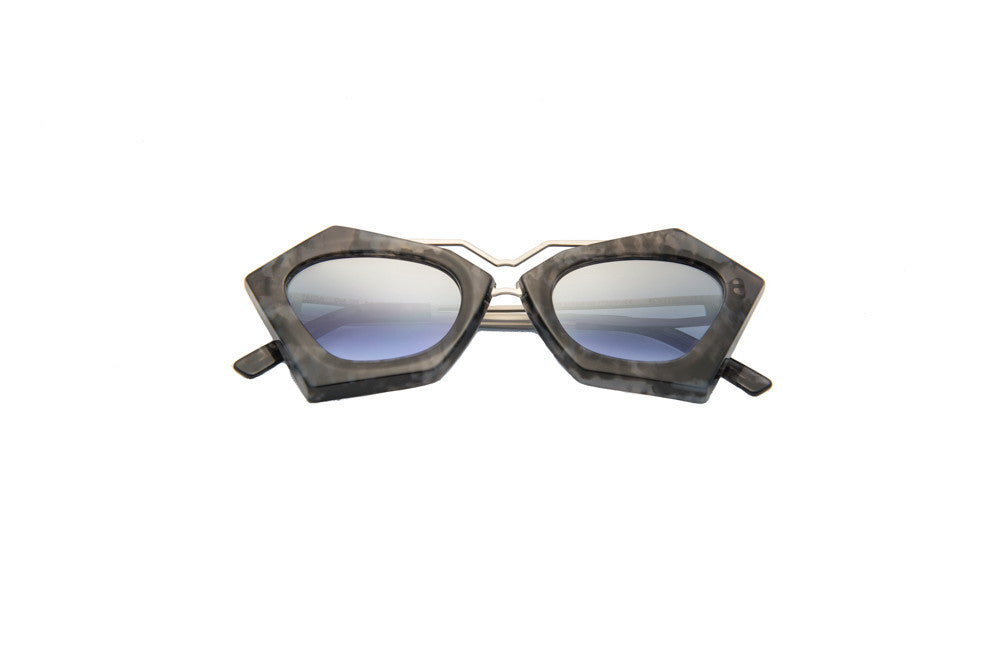 Kyme - Frida Marble Grey & Shiny Silver Arm Sunglasses