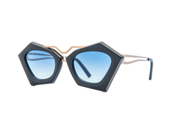 Kyme - Frida Black & Shiny Gold Rose Arm Sunglasses