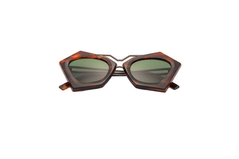 Kyme - Frida Horn Wood & Shiny Gun Arm Sunglasses