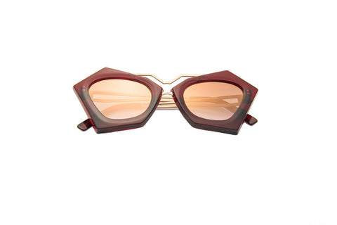 Kyme - Frida Red Burgundy & Shiny Gold Rose Arm Sunglasses