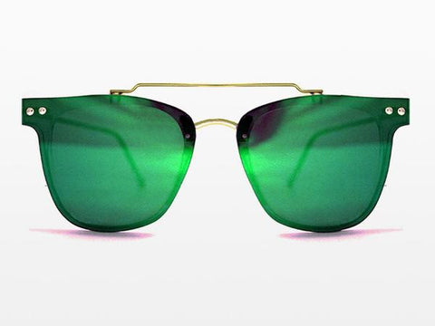 Spitfire FTL2 Gold Sunglasses, Green Mirror Lenses
