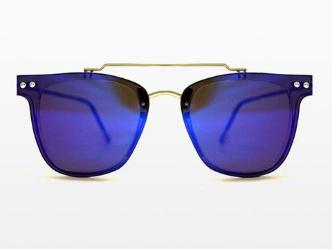 Spitfire FTL2 Gold Sunglasses, Blue Mirror Lenses
