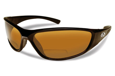 Flying Fisherman Falcon Bifocal Reader 7302BIF Black Sunglasses, Amber Lenses