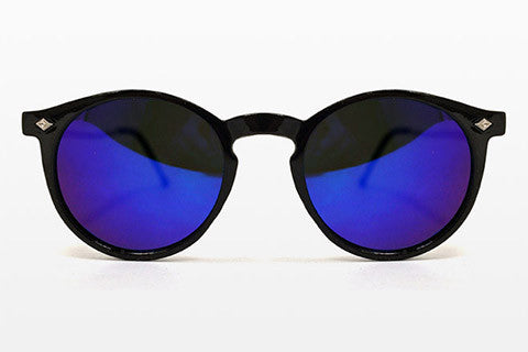 Spitfire - Flex Black & Gold Sunglasses, Blue Mirror Lenses