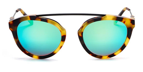 Westward Leaning - Flower 02 Matte Sand Tortoise Acetate Sunglasses / Emerald Mirror Lenses