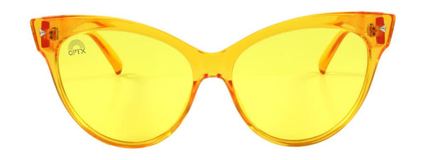 RainbowOPTX - Cat Eye Transparent Yellow Sunglasses / Yellow Lenses