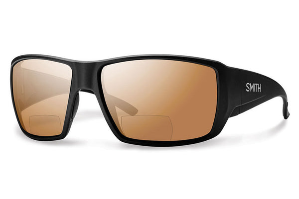 Smith - Guide's Choice Bifocal Matte Black Sunglasses, Polarized Copper Mirror 2.50 Lenses