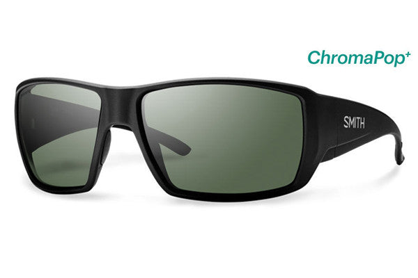 Smith - Guide's Choice Matte Black Sunglasses, ChromaPop+ Polarized Gray Green Lenses