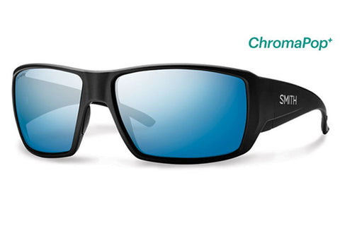 Smith - Guide's Choice Matte Black Sunglasses, ChromaPop+ Polarized Blue Mirror Lenses