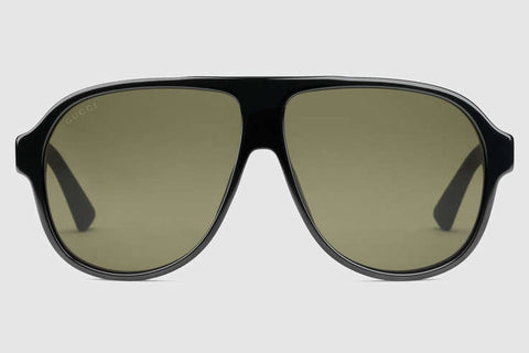 Gucci GG0009S Black Sunglasses, Solid Green Lenses
