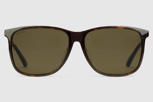Gucci - GG0017AS Shiny Dark Havana Sunglasses, Brown Lenses