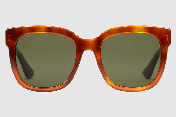 Gucci - GG0034S Havana Sunglasses, Green Lenses