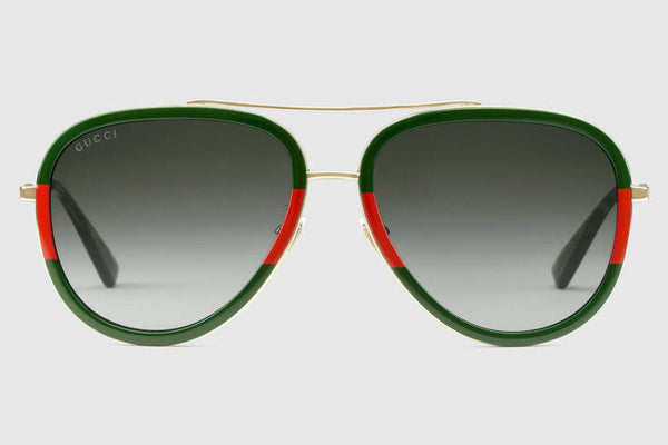 Gucci - GG0062S Endura Gold/Green-Red Sunglasses, Green Lenses