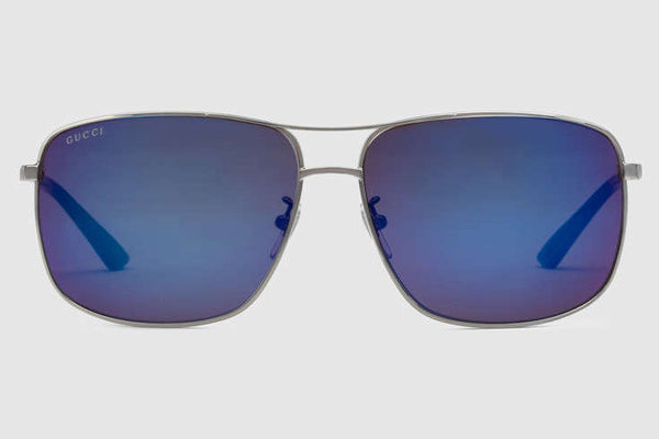 Gucci - GG0065SK Ruthenium Sunglasses, Mirror Blue  Lenses