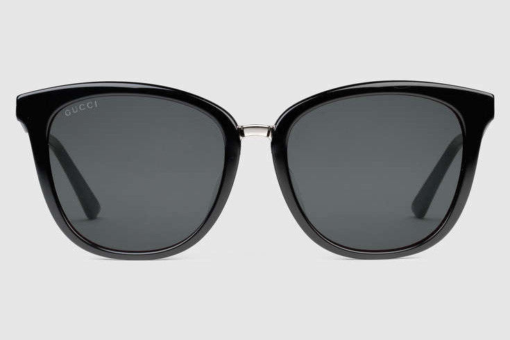 Gucci - GG0073S Black/Silver Sunglasses, Grey Lenses