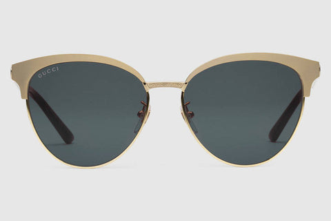Gucci GG0074S Endura Gold Sunglasses, Grey Lenses