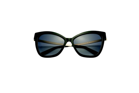 Kyme - Gianna Glossy Black & Shiny Gold Arm Sunglasses