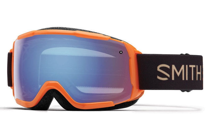 Smith - Grom Neon Orange Sunset Goggles, Blue Sensor Mirror Lenses