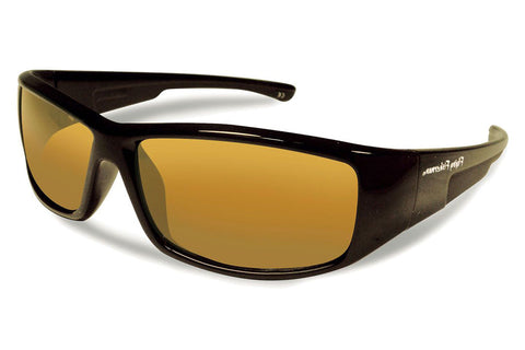 Flying Fisherman - Gaffer Jr Angler Kids 7890 Black Sunglasses, Amber Lenses