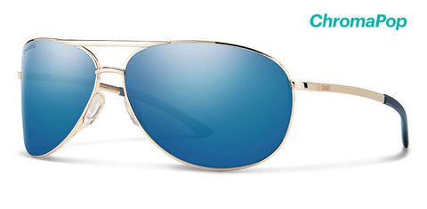 Smith - Serpico 2 Gold Sunglasses / ChromaPop Polarized Blue Mirror Lenses