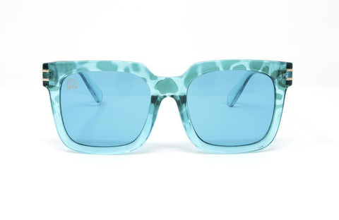 RainbowOPTX - Unit Transparent Rose Sunglasses / Aqua Lenses