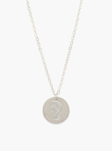 ABLE - She's Worth More Worth Portrait Heirloom Silver Necklace