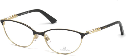 Swarovski - SK5139 Fiona Shiny Black + Gold Eyeglasses / Demo Lenses