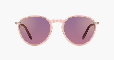 Garrett Leight - Horizon Desert Rose Gold Sunglasses / Semi Flat Purple Shadow Mirror Lenses
