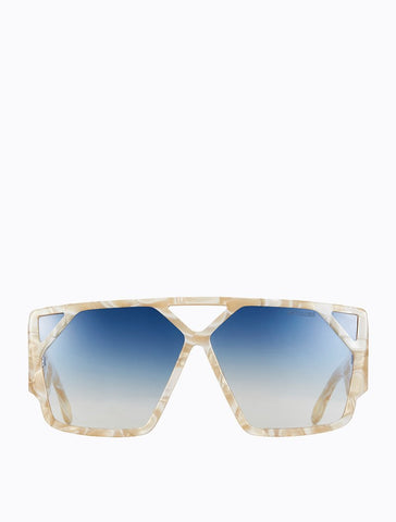 Poppy Lissiman - Hotlick Cream Pearled Marble Sunglasses / Blue Gradient Lenses