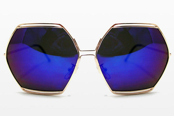 Spitfire - Hype Gold Sunglasses, Blue Mirror Lenses