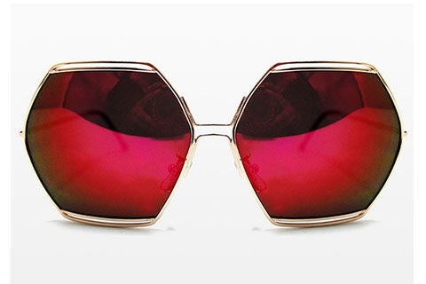 Spitfire - Hype Gold Sunglasses, Red Mirror Lenses