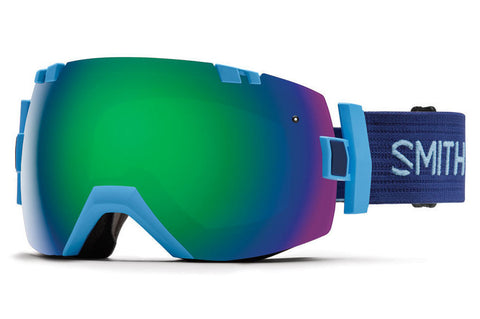 Smith - I/OX Asian Fit Light Blue Goggles, Green Sol-X Mirror Lenses