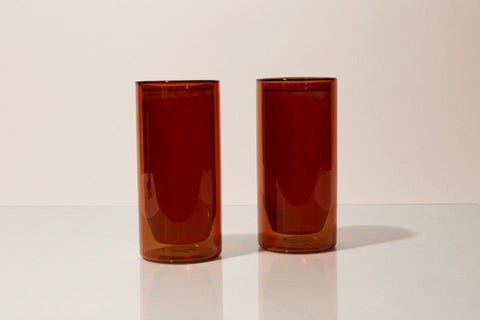 Yield Designs Co. - Set of Two Amber 16oz Double Wall Glass