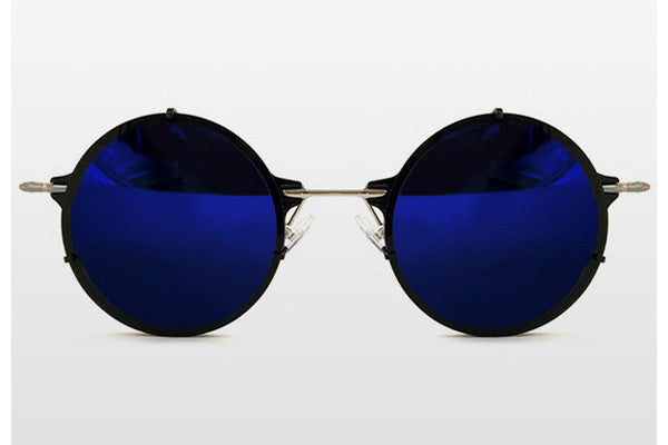 Spitfire - Infinity Black & Silver Sunglasses, Blue Mirror Lenses