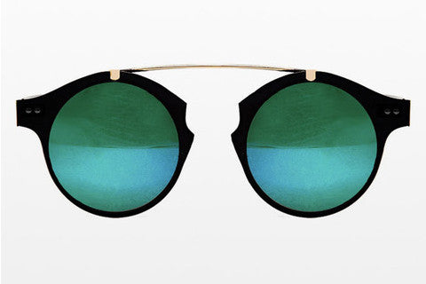 Spitfire - Intergalactic Black & Gold Sunglasses, Green Mirror Lenses